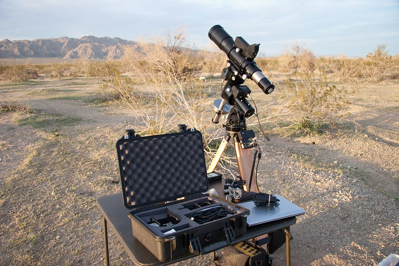 Photo from Feb. 2009 of the Astro-Physics Traveler getting ready for a night of imaging at Chuckwalla Bench