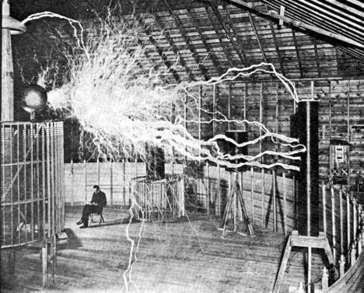 Nikola Tesla's laboratory, circa 1900
