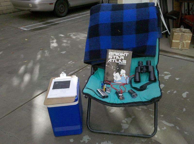 My meteor watching setup - comfortable chair, blanket, clipboard, red flashlights, clock, binoculars, snacks