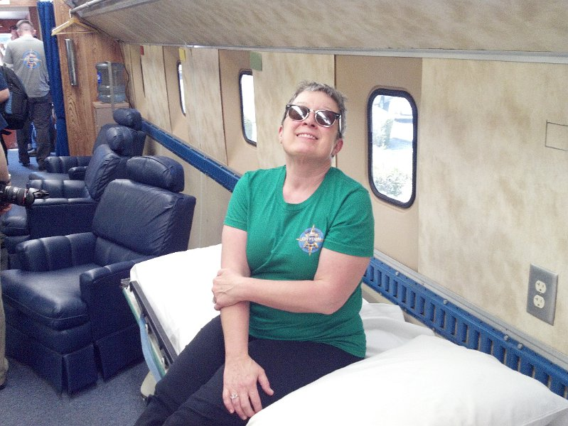 Here I am inside the Astronaut CTV (Crew Transport Vehicle) I would have laid down on the bed I'm sitting on, but I was too excited!