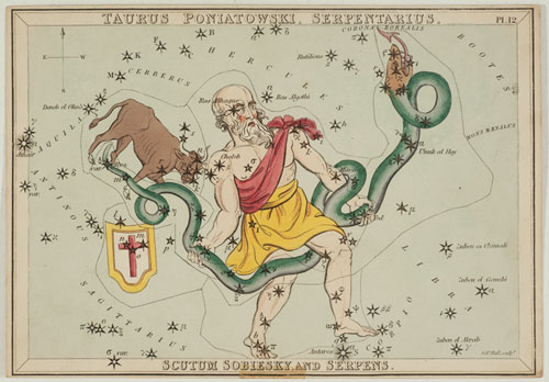 the demoted constellation Poniatowski's Bull and Ophiuchus